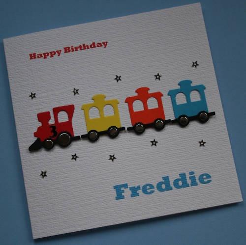 Cute boys card  Train With Brads