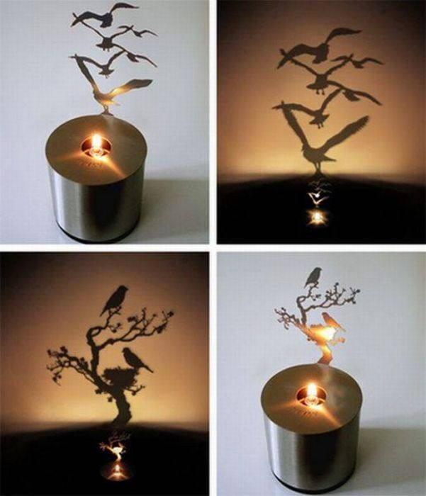 What an ingenious way to create mood lighting. wonder if i could diy this with cardstock or aluminum from a soda can