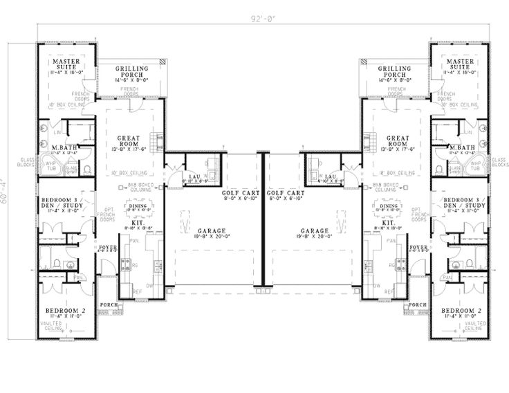 country crossing duplex plan family house planshouse