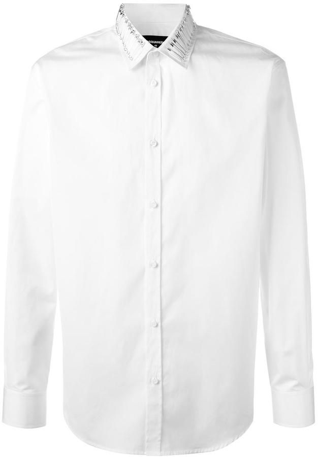 DSQUARED2 safety pin collar shirt