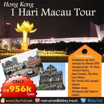 Tidak lengkap rasanya jika kita liburan ke Hong Kong tetapi tidak mengunjungi Macau.Kini kami sediakan paket 1 hari Macau Tour.Yuk booking sekarang juga dan dapatkan diskon spesialnya. http://liburyuk.com/bookitem/92/2013-07-18  #LiburYuk #Macau #Hongkong #Jalan2 #Holiday #AbbeyTravel