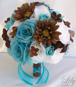 blue and brown roses pics | ... -Bridal-Bride-Bouquet-Flowers-Decorations-Package-TURQUOISE-BROWN