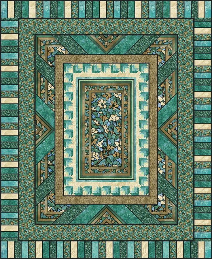 Quilting Panels Quilt Patterns : Quilt Patterns with Center Panels Fractured Glass Quilt Pattern PC-125 (intermediate, queen ...