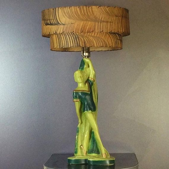 Vintage 1950s Green Ballerina Lamp With Original Fiberglass Lampshade Lamp Funky Lamps Lamp Shades