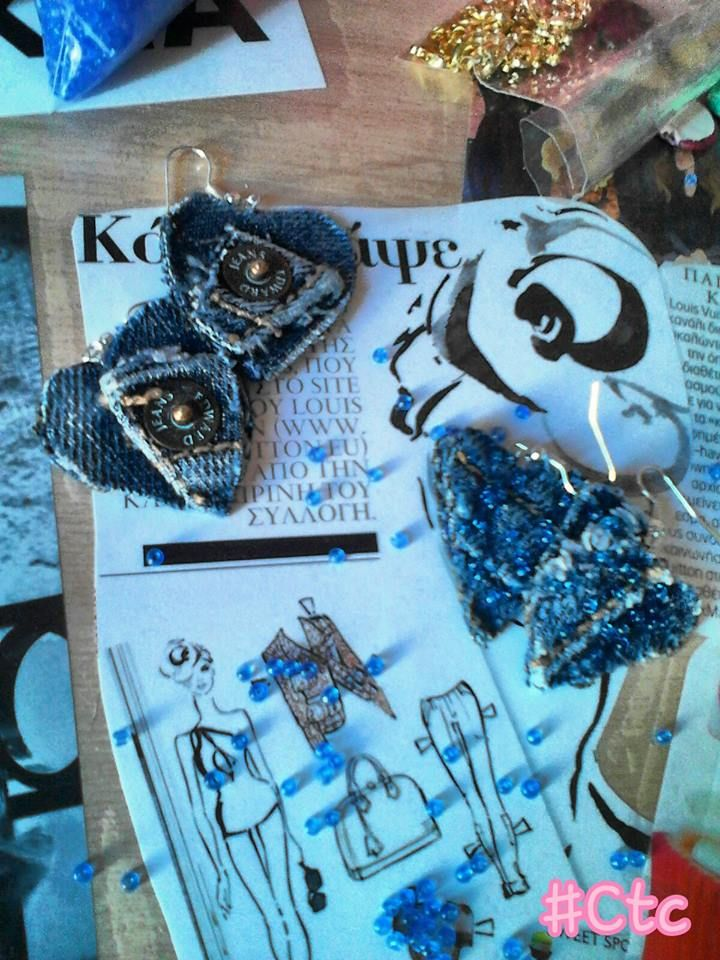 heart earrings made of jeans...4$ #ctc #collection #jeans #earring