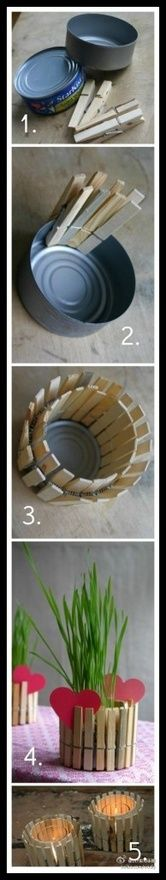 Easy Vase/Candle Holder made from a tuna can and clothespins: Mothers Day Gifts, Flowers Pots, Cute Ideas, Candles Holders, Teas Lights, Planters, Tins Cans, Clothespins, Kid