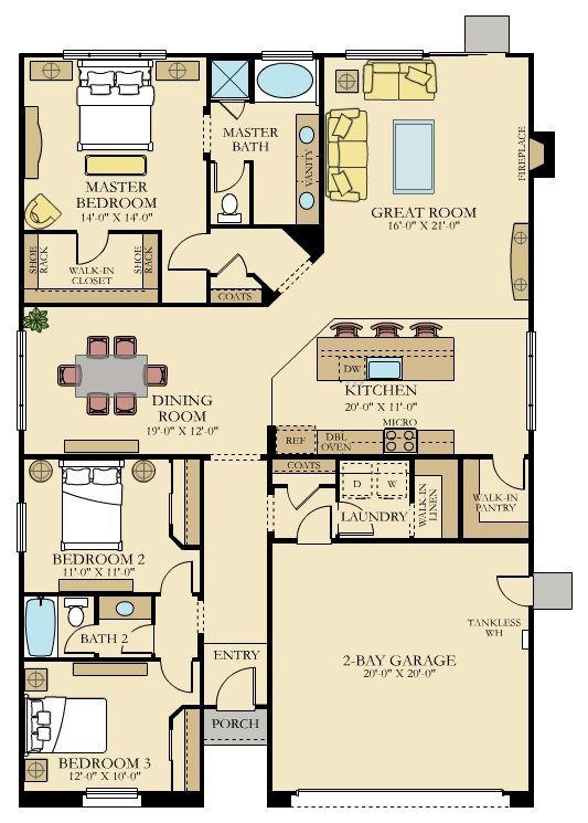 Take Out Bedrooms Add Mud Room N Powder And Stairs Left Of Foyer House Blueprints House Plans New House Plans