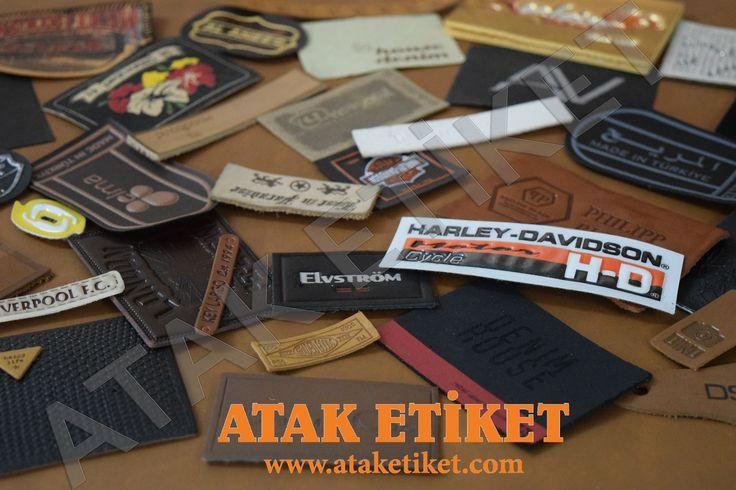 Our mass production leather labels. Hot stamping, embossing, die cut, foil blocking, screen printing #leatherlabel #denimlabel #jeanslabel #derietiket #kotetiketi #ataketiket #ataklabel #textileaccessories