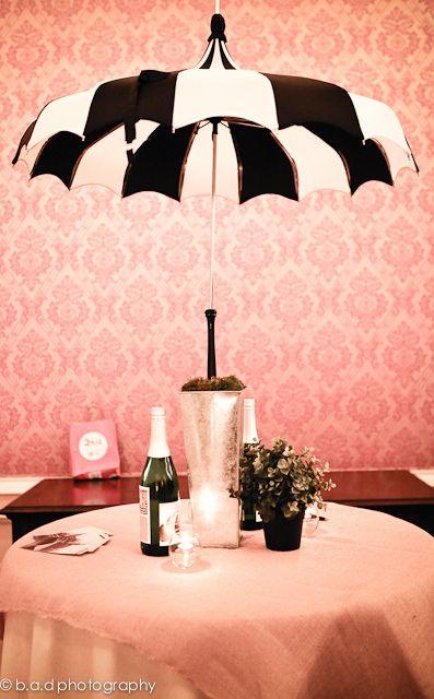 Black white umbrella centerpiece for unique wedding