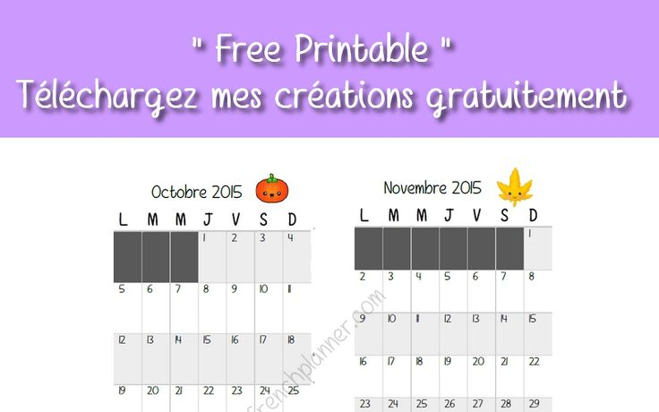 Free Printable calendrier mensuel - Personal et Pocket