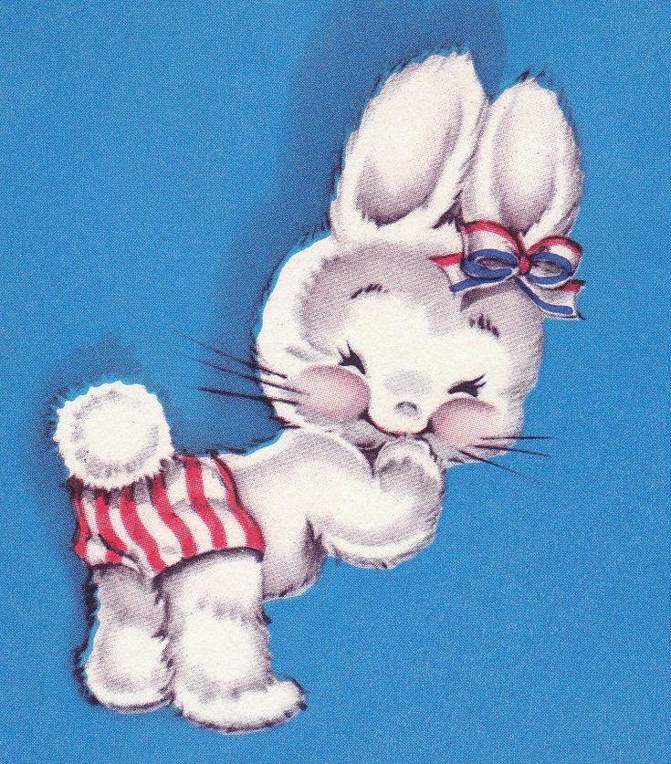 Vintage 1940s Happy Easter Bunny Greetings Card