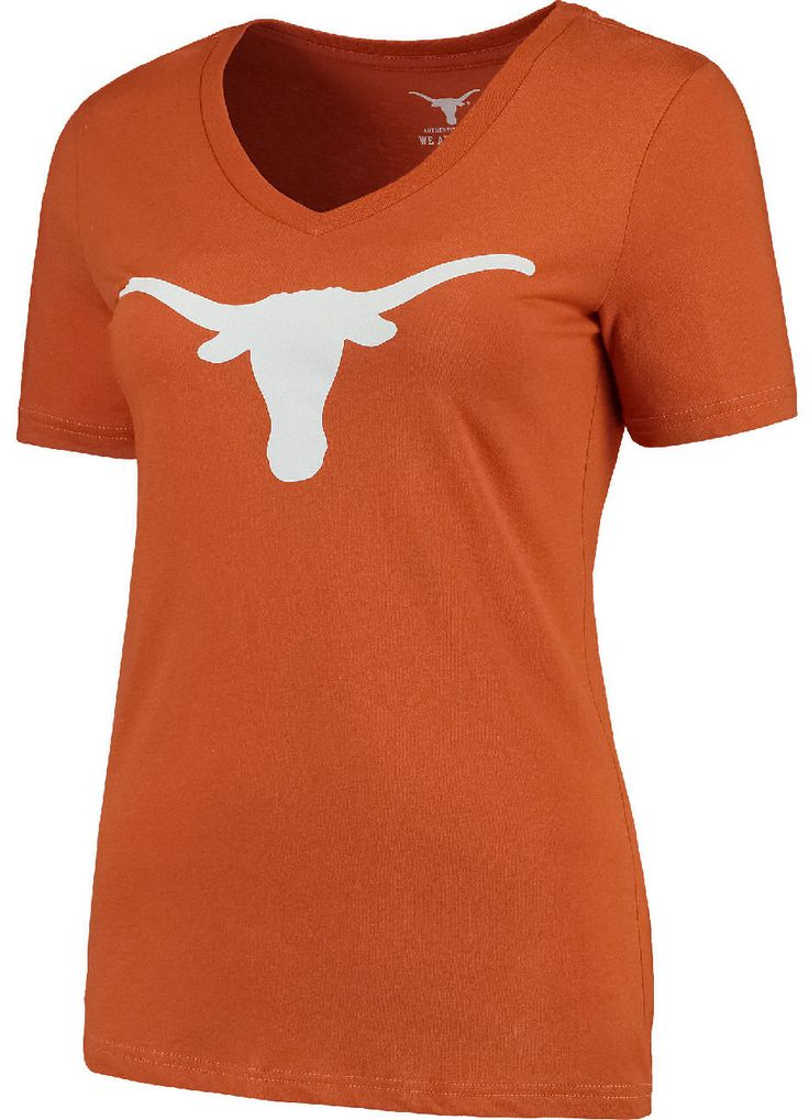 Womens Texas Longhorns Orange Silhouette V-Neck T Shirt $19.95