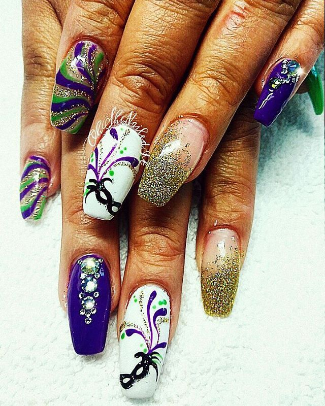 46 best Mardi Gras Nail Art images on Pinterest | Art nails, Fat and ...