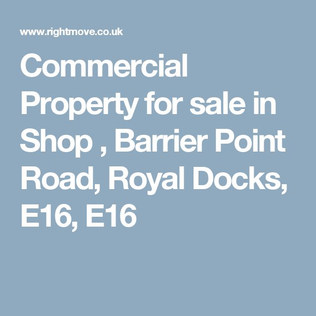 Commercial Property for sale in Shop , Barrier Point Road, Royal Docks, E16, E16
