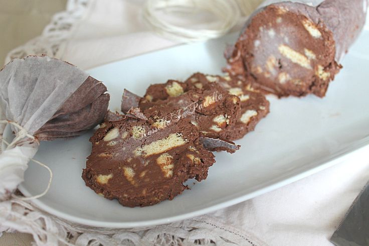 salame di cioccolato semifreddo con crema alla nutella