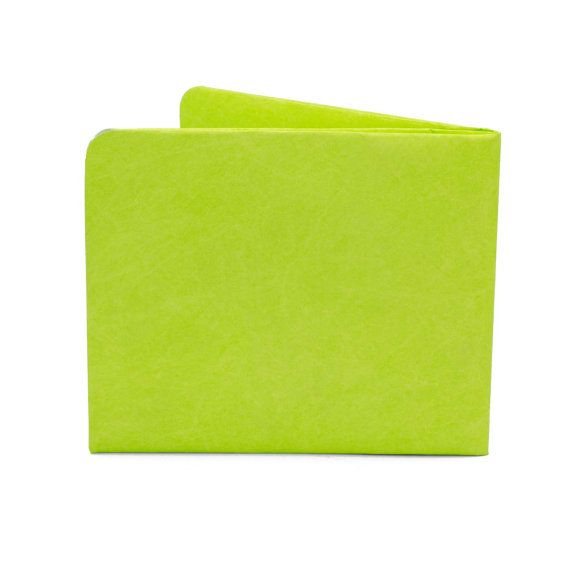 Paper-Thin Wallet Unisex for Men & Women - Neon Green Design - Made in Tyvek - Eco-friendly and 100% Recyclable