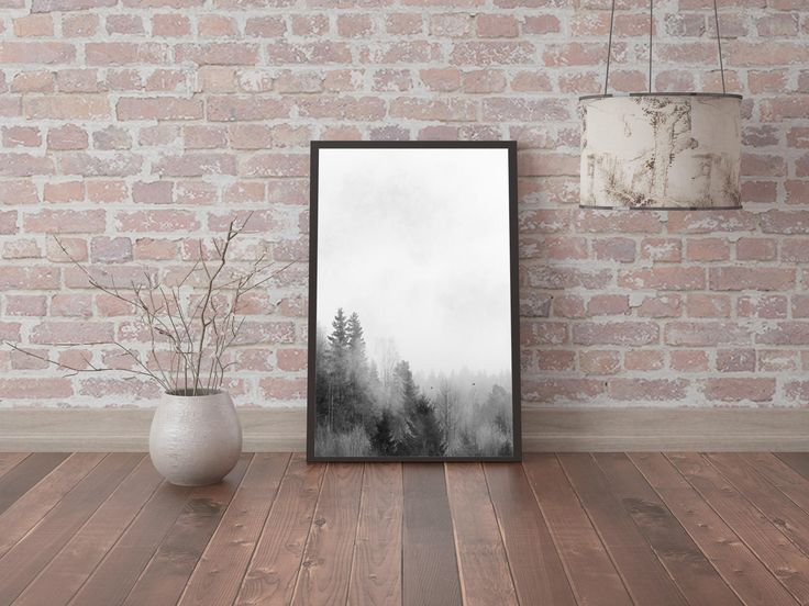 Forest Landscape Forest Photography Printable Foggy Forest Poster Forest Printable Scandinavian Art Misty Forest Wall Art Tree Print