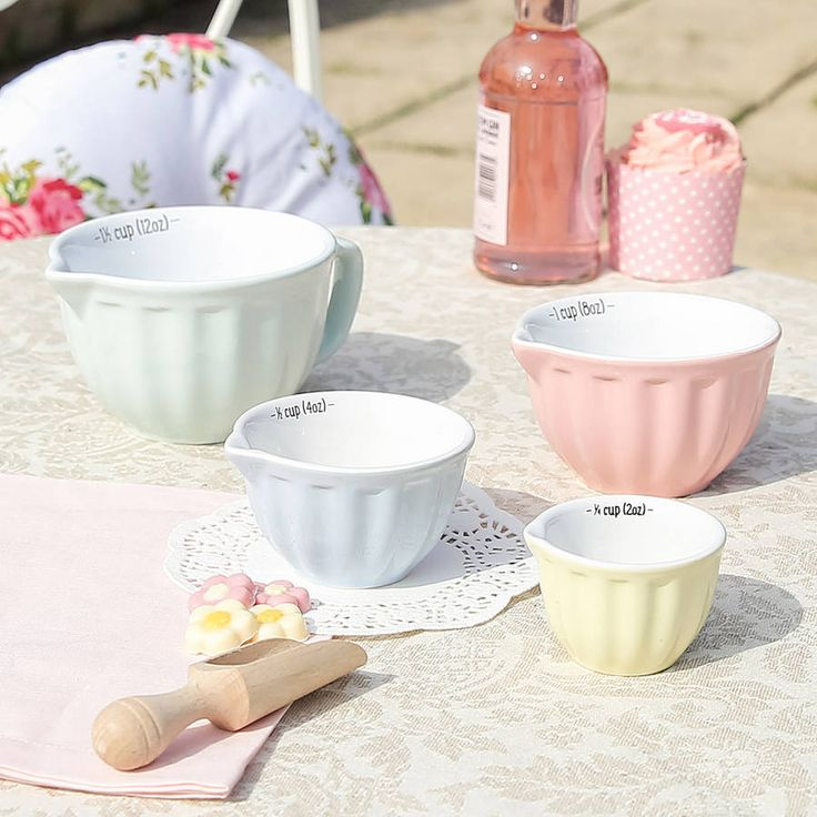 Set of 4 ceramic vintage style pastel measuring jugs ideal for the keen baker or simply just a decorative piece for the kitchen .Finished in beautiful ice-cream shades this set of 4 measuring cups makes a welcome additional to the kitchen of any keen amateur baker. Made from stoneware each in ascending sizes they boast a rippled design, easy to pour lip for pouring and convenient handle. Finished in beautiful retro colours each clearly marked with their respective measures. A beautiful gift…