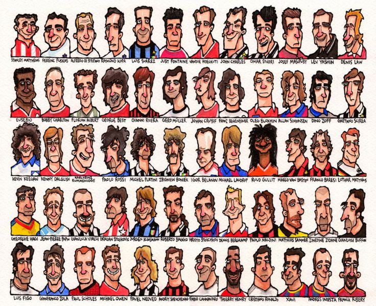 What you see above you is the work of freelance illustrator Edward Mund - the brains behind Dotmund - in which he charts 60 of the greats of European football from 1956 onwards. We've split the ensemble in half and blown it up here to give you a better look at the cracking caricatures on offer...   Ribery. So harsh!Nevertheless, some absolutely outstanding work there. There is plenty more to peruse and buy over at Edward's online Redbubble gallery, so feel free to toddle over there should…