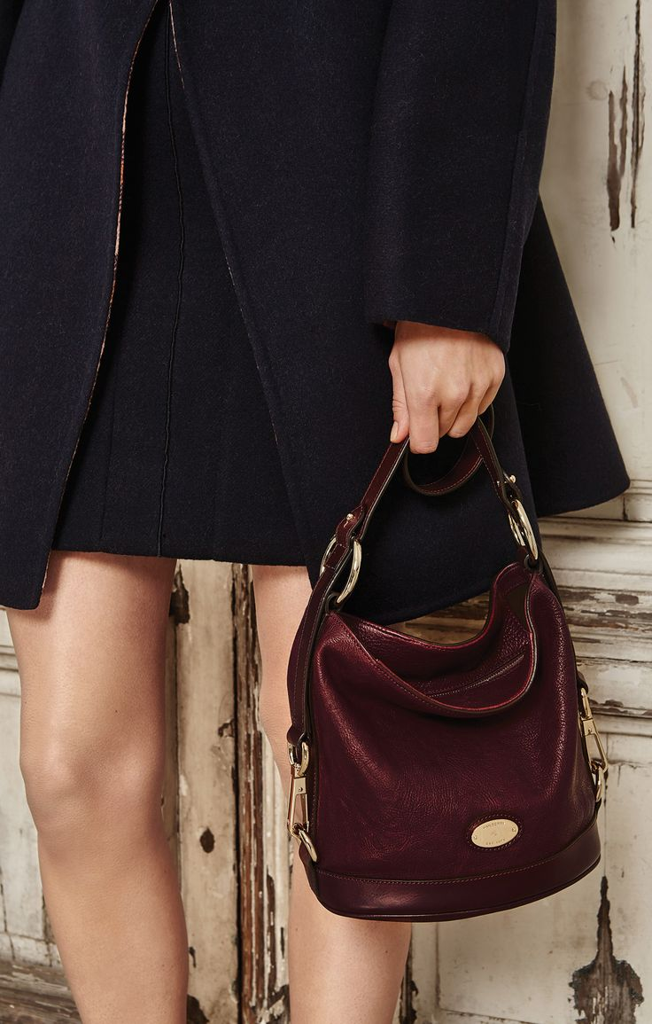 Autumn Style, By Mulberry - Fitted Dixter Coat in Midnight Double Faced Felt with the Small Jamie in Oxblood
