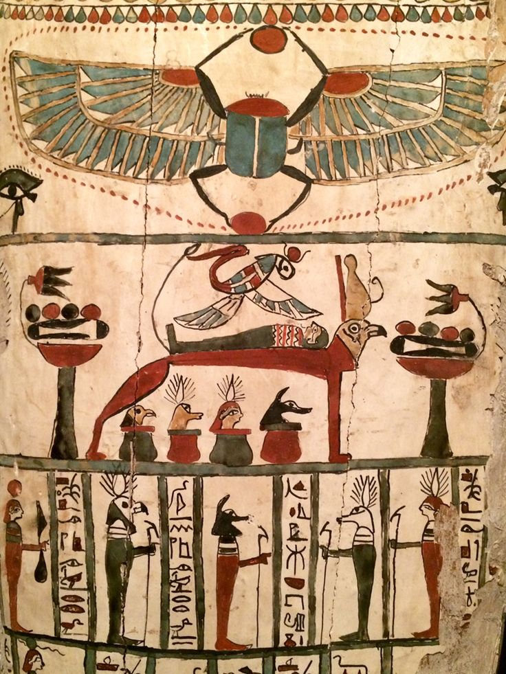 Coffin of Denit-Aset from Persian Period. Isis over the mummy. Ancient Egypt.