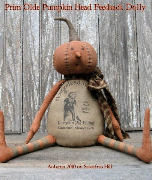 Sassafras Hill Primitives Blog: Prim Olde Pumpkin Head Dolly