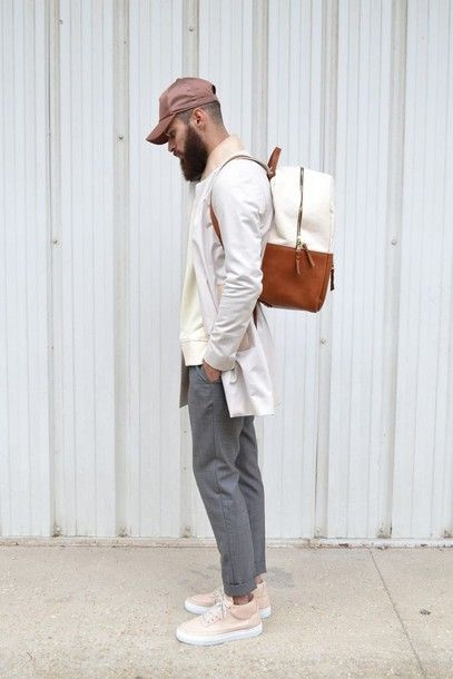 Jacket: coat, mens, menswear, men coat, beige, hipster menswear, bag, mens backpack, mens chino pants, mens cap - Wheretoget
