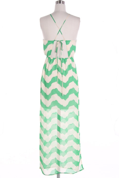 Mint Chevron Maxi Dress Causal Maxi Dress