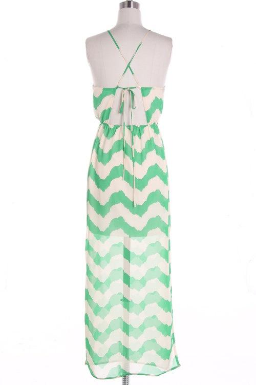 Mint Chevron Maxi Dress Causal Maxi Dress