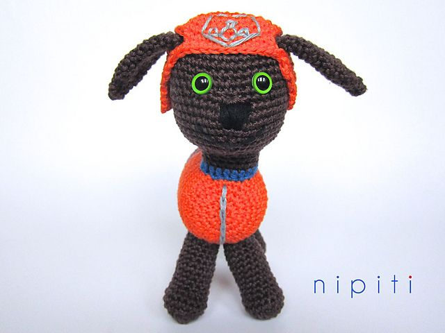 Zuma is a Chocolate Labrador puppy and a member of the PAW Patrol - TV Series for kids. His main color is orange, so he normally wears an orange helmet on duty.