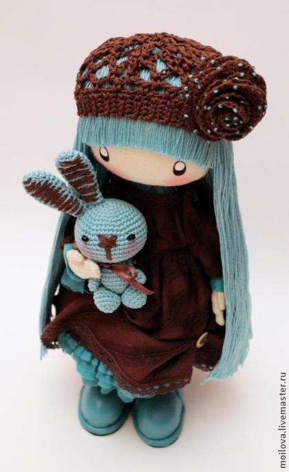 Человечки ручной работы. Ярмарка Мастеров - ручная работа Текстильная кукла Мими (шоколадно-бирюзовое бохо) для Натальи..... Handmade.