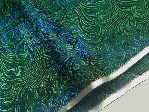 Unique peacock feather Blue green turquoise weaved silk. Ideal for making Asian dress, Boho dress, hippie bag or Asian home decor. 200+ Chinese