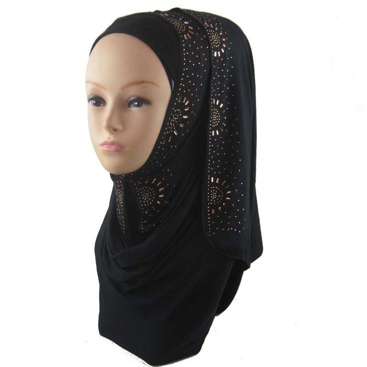 Hot populaire katoenen jersey strass moslim islamitische hijab mode sjaal pus verzending170* 50cm