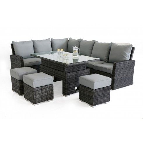 f7d4fa8914c4 £929 Maze Rattan Kingston Grey Corner Garden Dining Set with Rising Table