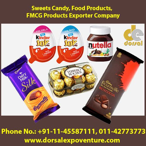 Dorsal Expoventure (Fast Moving Consumer Goods Exporter Company) exports branded sweets products like Dairy Milk Silk Caramello, Temptations Rum Raisins, Rocher Chocolates Pack of 16, Kinder Joy for Girls and Ferrero many more at best price.