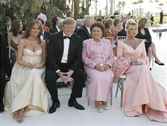Donald Trump (L2) and his wife Melania Trump (L) sit with Ivana Trump (R) and her mother Maria Zelnicek (L3) attend the wedding ceremony of Donald Trump Jr and Vanessa Haydon at the Mar-a-Lago Club on November 12, 2005 in Palm Beach, Florida.