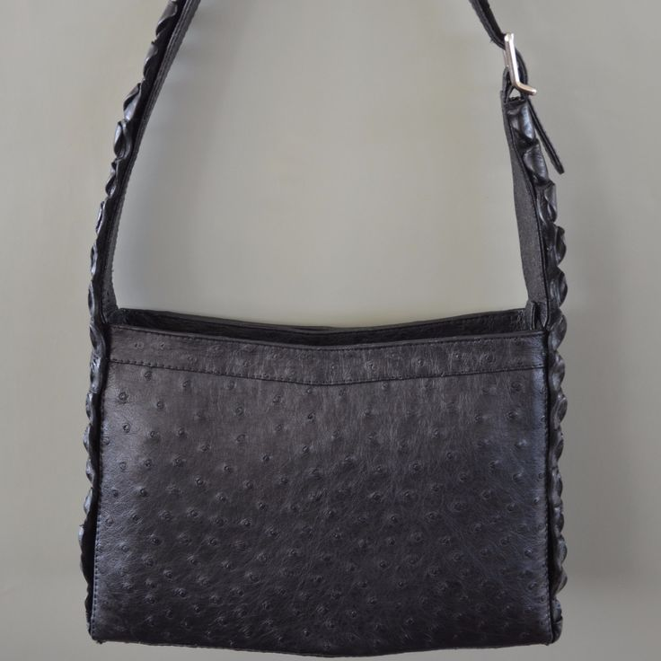 Ostrich Leather. Ostrix Downtown With Croc Strap Bag | GoodiesHub.com