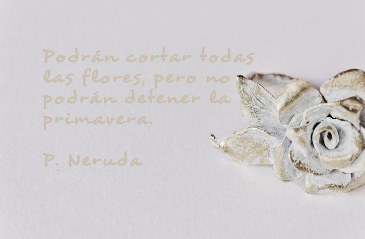 White flower. RIng. Phrase: Pablo Neruda. Paula Jiménez Yera