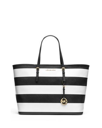 MICHAEL Michael Kors  Medium Jet Set Travel Striped Tote.