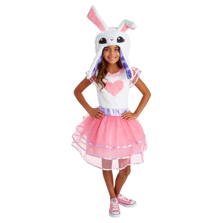 Halloween Animal Jam Girls' Bunny Costume S, Pink White