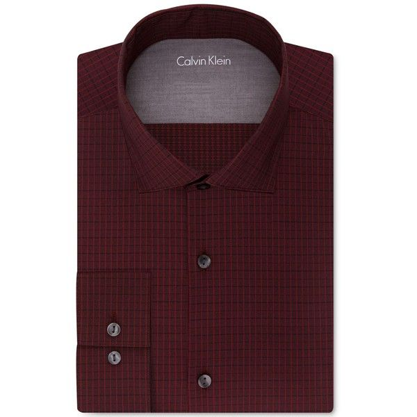 Calvin Klein X Men's Extra-Slim Fit Red Check Dress Shirt ($70) ❤ liked on Polyvore featuring men's fashion, men's clothing, men's shirts, men's dress shirts, crimson, mens dress shirts, mens checkered shirts, mens red checked shirt, mens red shirt and mens red checkered shirt