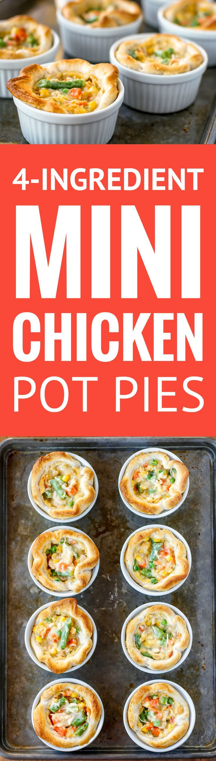 Mini Chicken Pot Pies -- packed with loads of mixed veggies and diced chicken, these 4-ingredient mini chicken pot pies are a fantastically quick and easy weeknight meal! I love baking them in individual ramekins for easy serving. | easy chicken pot pies | chicken pot pies recipe | chicken pot pies with biscuits | chicken pot pies pillsbury | 30 minute meal idea | find the recipe on unsophisticook.com #chickendinner #chickenrecipes #easyrecipe #comfortfood