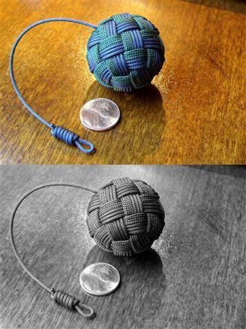Globe knot key fob - 45 face globe knot key fob, made with a strand of gutted paracord and  3 passes of 1.4mm braided nylon trot line/mini blind string, over a  foam ball(toy gun ammo).