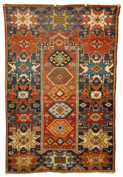 "Rare Lesghi Prayer Rug, Caucasus, c. 1900.  Grogan ""Fine Oriental Rugs and Carpets"" 20 January 2013"
