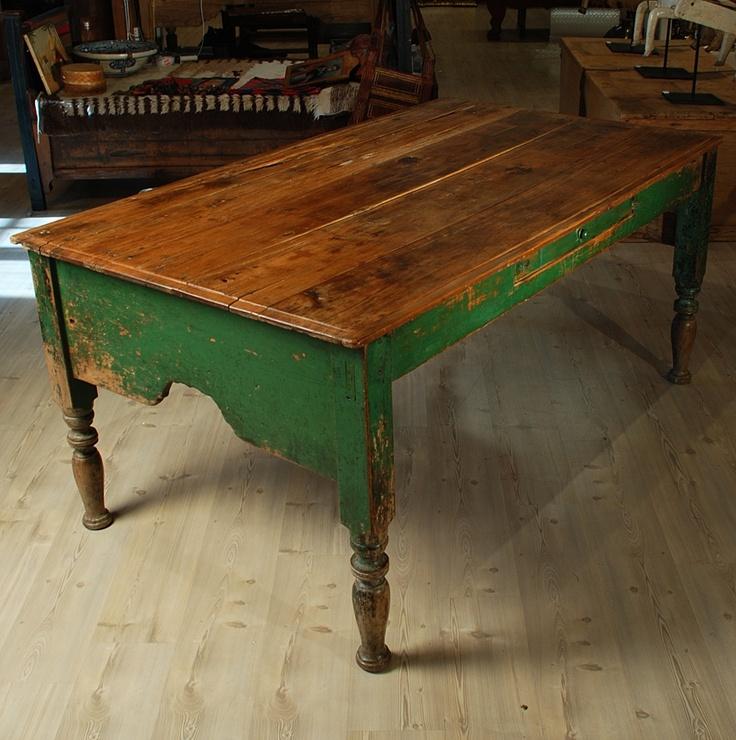 Antique Mexican Painted Hacienda Table. Image C. Colonial Arts