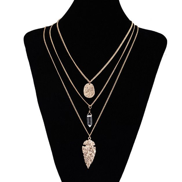 New Design Gold Vintage Leaf Shape Bullet Natural Stone Pendants 3 Multilayer Long Chains Necklace   -100% Free Shipping World wide (7-20 Business days) Via Air Mail Register with tracking number...