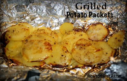 Grilled Potato Packets - my friends love me for making these! I added cooked bacon to the packets. I like to top them with sour cream and cheese after cooking.  I've used Lawry's, Tony's, or ranch seasoning.
