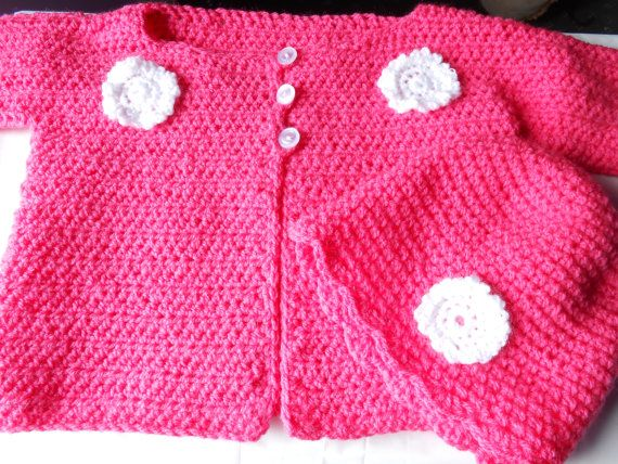 Handmade Crochet Baby Cardigan/Jacket and Hat. Pink by AluraCrafts, €16.00