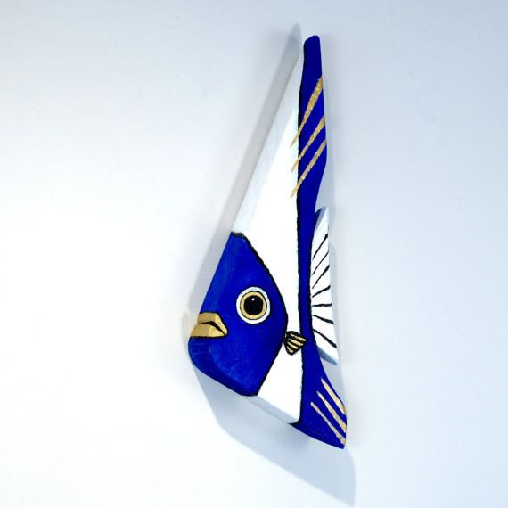 Reclaimed Wood Fish Art Painted Blue and White Handmade in