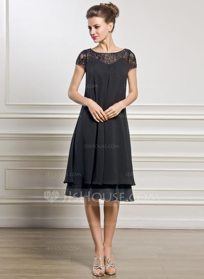 Empire Scoop Neck Knee-Length Chiffon Lace Mother of the Bride Dress With Beading Sequins (008057066)